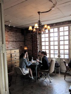 brick wall + white ceiling  Cafe life on a Sunday in Samcheong-dong by moline, via Flickr