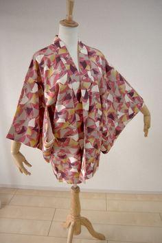 Kimono Dress Japan Vintage gown Geisha Silk used Japanese Haori coat KDJM-H0130