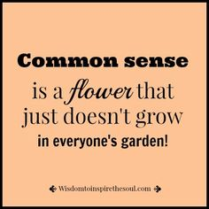 Wisdomtoinspirethesoul.com: Common sense doesn't grow everywhere.