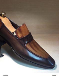shoes - Handmade Men two Town formal shoes, Men two town shoes, Men brown dress shoes Penny Loafers, Loafers Men, Men's Shoes, Shoe Boots, Shoes Men, Shoes Style, Leather Men, Leather Shoes, Calf Leather
