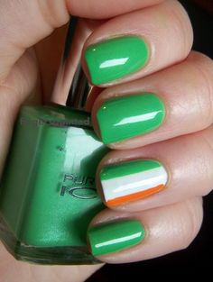 Please seen my boards on Valentines Day Nail art - St. Patrick's Day Mani, Easter/spring for nail art specific to those holidays - more individual holiday boards are up now and more to come. Simple Irish Flag stripe colored accent ring finger