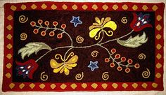 I would sooo love to learn Rug Hooking and make a rug like this one! Rug Hooking Kits, Sewing Room Design, Blue Tulips, Hand Hooked Rugs, Craft Day, Penny Rugs, Floral Rug, Traditional Rugs, Rug Making