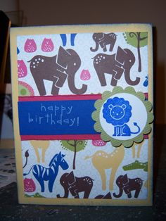 kids birthday card template using animal paper and stamp