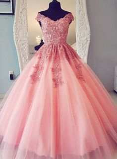 Pink Tulle evening dress Lace Long Prom Dress, Pink Evening Dress Long ball gowns sold by Shop more products from on Storenvy, the home of independent small businesses all over the world. Quince Dresses, Pink Prom Dresses, Quinceanera Dresses, Pretty Dresses, Pink Dress, Beautiful Dresses, Dress Prom, Dress Lace, Wedding Dresses