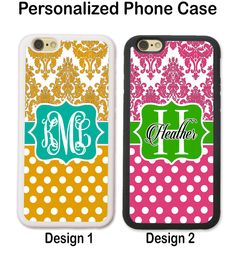 PERSONALIZED PHONE Case COVER FOR IPHONE 8+ 8 7 6S 6 SE TEAL PINK YELLOW DAMASK #UnbrandedGeneric