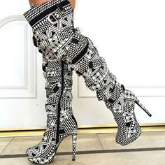 a705d2c7a90 Wrap Around Strappy Thigh High Heel Boots