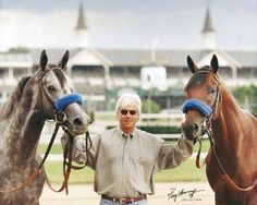 Racehorse trainer Bob Baffert with his back-to-back Kentucky Derby winners Silver Charm and Real Quiet in front of the famed twin spires of Churchill Downs All The Pretty Horses, Beautiful Horses, Bob Baffert, Derby Horse, American Pharoah, Derby Winners, Thoroughbred Horse, Reining Horses, Sport Of Kings