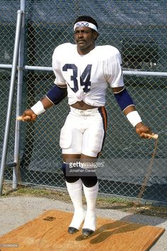 Running back Walter Payton #34 of the Chicago Bears jumps rope during training camp in 1987.