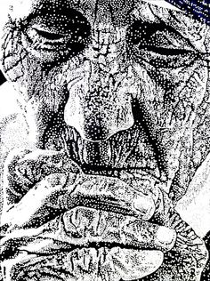 Famous Black and White Art | Mother Teresa Pointillism Portrait Wins! | Denise Landis Blog