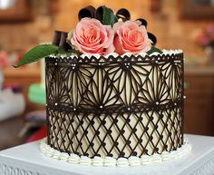 Chocolate lace cake by Julia Usher, love this technique. Great for Easter or Mother's Day cake!