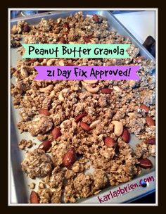 A healthier, zero sugar peanut butter granola that is 21 Day Fix approved! Great for diabetics or people that are looking to eliminate refined sugar from their diets.