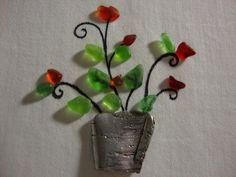 Sea Glass Art Genuine Sea Glass Roses Plants by BeachenSea on Etsy