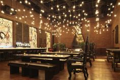 Love the Fairy Light ceiling. Get the look with our Katz  Trope Communal Table  Benches.