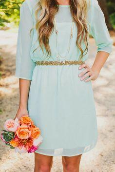 mint dress with gold belt | Gloss Fashionista