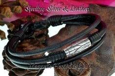 2B-819 Solid 925 Sterling Silver Leather New Bangle Wristband Men Bracelet.