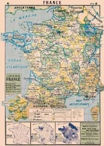 Cavallini & Co. France Map Decorative Decoupage Poster Wrapping Paper Sheet