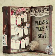 Very cute idea for seating plan. AIRMAIL SUITCASE TABLE SEATING PLAN