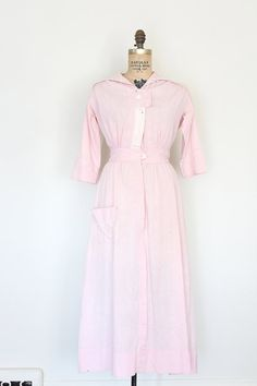 antique 1910s dress // edwardian pink cotton dress // by TrunkofDresses