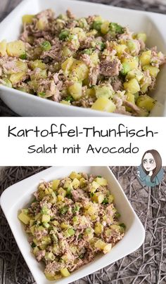 Kartoffel-Thunfisch-Salat mit Avocado Rezept A simple recipe for a salad with potatoes, tuna, avocado, sesame and lime juice. The potato and tuna salad can be prepared well and eaten either as a main course or as a side dish. Healthy Diet Recipes, Healthy Salads, Healthy Nutrition, Salad Recipes, Healthy Eating, Juice Recipes, Healthy Food, Avocado Dessert, Avocado Salat