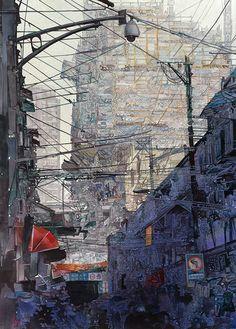 John Salminen. Shanghai Street, 30 x 20.
