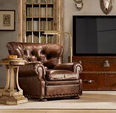 Churchill Leather Recliner with Nailheads. Higher back than a club chair. Has built in footrest. Painting Wooden Furniture, Furniture Near Me, Home Furniture, Antique Furniture, Modern Furniture, Furniture Storage, Furniture Design, Club Chairs, Room Chairs