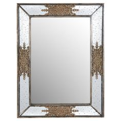 An artful touch for your entryway or powder room, this eye-catching wall mirror showcases a beveled frame and openwork medallion accents.  ...