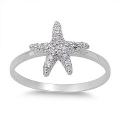Starfish Ring Cute Solid 925 Sterling Silver Micro Pave White Clear Russian Diamond CZ Starfish Fashion Ring Starfish Jewelry