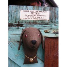 Faux taxidermy,  Fabric animal head. shabby chic, country house, Dog trophy head. Vintage tweed.