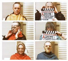 """Anthony Hopkins testing different masks for Hannibal Lecter. """"The Silence of the Lambs"""" directed by Jonathan Demme. Behind the scenes photos. Great Movies, New Movies, Hannibal Red Dragon, Horror Movies Funny, Hannibal Rising, Thomas Harris, Sir Anthony Hopkins, Thriller Film, Hannibal Lecter"""