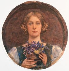 Edgar Maxence  Jeune fille au bouquet de violettes (Girl with bouquet of violets)