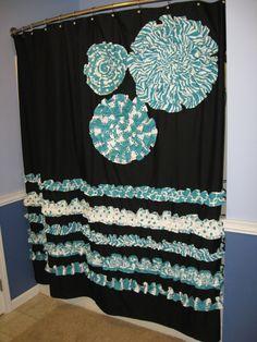 Skye Turquoise Fabric Shower Curtain