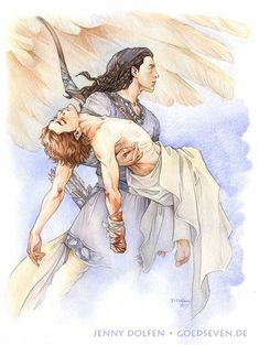 "goldseven: ""The rescue of Maedhros. Watercolour. ""Again therefore in his pain Maedhros begged that he would slay him; but Fingon cut off his hand above the wrist, and Thorondor bore them both back to..."