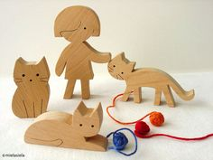 Wooden cats - girl and cats - Wooden toy set - waldorf natural wood toy
