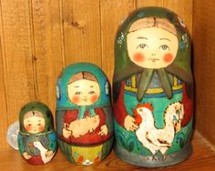 Russian small TRADITIONAL nesting doll 3 HAND PAINTED RYABOVA Chicken Pig Goose | eBay