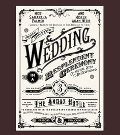 this wedding invitation! Looks like a circus poster from the and See more Nerdy Wedding Invitations on this page.Love this wedding invitation! Looks like a circus poster from the and See more Nerdy Wedding Invitations on this page. Wedding Invitations Examples, Invitation Examples, Wedding Invitation Inspiration, Vintage Wedding Invitations, Wedding Invitation Design, Wedding Stationary, Invitation Cards, Typography Invitation, Wedding Postcard