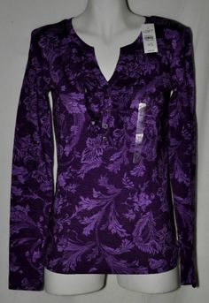 Ann Taylor Loft Purple Floral Cotton Top Sz XSmall NWT