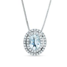 Oval Aquamarine Pendant in 14K White Gold with Diamond Accents, but all diamond