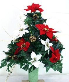 Beautiful Red & White Poinsettia's Christmas Cemetery Flower Arrangement, $36.99
