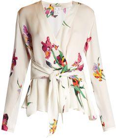 Iris-print wrap silk blouse - The new season ushers in a fresh take on florals. - [ad]