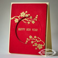 handmade red and gold card for chinese lunar new year using inkadinkadoo stamps heat embossing with gold on red textured cardstock
