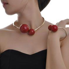 Fashion Shiny Gold Hot Red Big Pearl Bib Collar Hook Loop Necklace Bracelet Wire #New #Collarbibfashionhotsellingnobledesignstyle