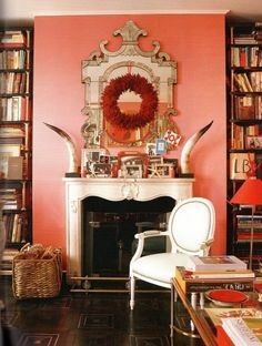 What a delightful warm coral for a living room.