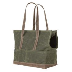 Dog Carrier / Waxed Canvas Pet Tote Olive & Oak by LoveThyBeast