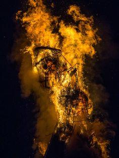 Wickerman burning at Beltane - Butser Farm 2014