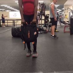 """""""Awesome functional training with #Hyperwear #FitRUCK backpack. Just add a #steelbell/#sandbell for weight and get to work. Movements done here: 1) reverse lunge torso twist to high row, 2) cleans, 3) Bentover rows, and 4) swings ALL DONE WITH THIS AWESOME BACKPACK. I carried my water, protein, belt, steelbell, keys and phone all inside, then took out everything except the steelbell and got to work. A great workout, even in a gym full of equipment and machines."""" -@brookeofalltrades"""