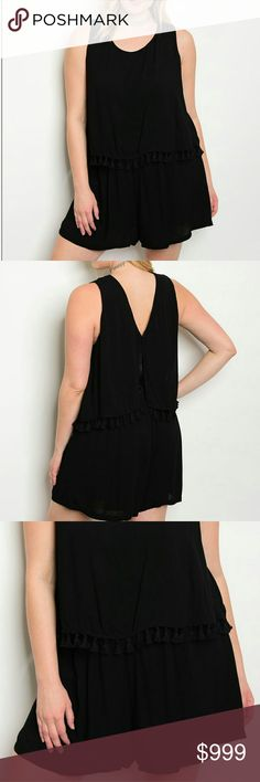 """PLUS blk tassels romper Super cute and form flattering black romper. Loose, soft,  flowy, tassels hang by the waist. Stretchy elastic waistline. Brand new from wholesaler. 100% rayon. About 32"""" from neckline. NO TRADES  XL - bust is about 22"""", waistline is 17"""" and stretches         to about 25""""across 1X - 23"""", 18"""" to 26"""" 2X - 24"""", 19"""" to 27"""" 3X - 25"""", 20"""" to 28""""  07500 Pants Jumpsuits & Rompers"""