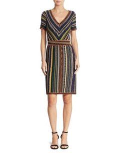 MISSONI Short-Sleeve V-Neck Lamé Dress. #missoni #cloth #dress