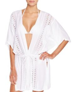c6945c5a1c66d Echo Crochet Inset Kimono Swim Cover-Up Women - Swimsuits & Cover-Ups -  Cover-Ups - Bloomingdale's