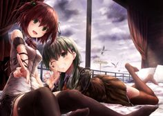 2girls :d ;d armband bare_shoulders bed bird black_legwear black_skirt blush bow bowtie breasts brown_hair brown_legwear character_sheet chin_rest clouds foreshortening green_eyes green_hair grin hair_bobbles hair_ornament hairclip kantai_collection kurumi_(suien) long_hair looking_at_viewer lying multiple_girls on_stomach one_eye_closed open_mouth original pillow pointing pointing_at_viewer red_bow red_bowtie road_sign school_uniform seagull shirt short_hair shoulder_pads sign sitting skirt…