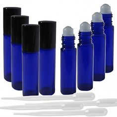 10ml New, Best Quality, Glass Roller Bottles, Frosted Blue Color - Set of 8 Pack with Roller Ball, Black Lid, and 4 EXTRA 30ml PIPETTES Included! Rybak3 http://www.amazon.com/dp/B00QL8WX9Q/ref=cm_sw_r_pi_dp_zhcMwb0NSM0H7